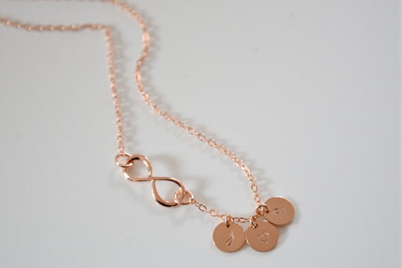 Image of Dainty Personalized Rose Gold Infinity Necklace