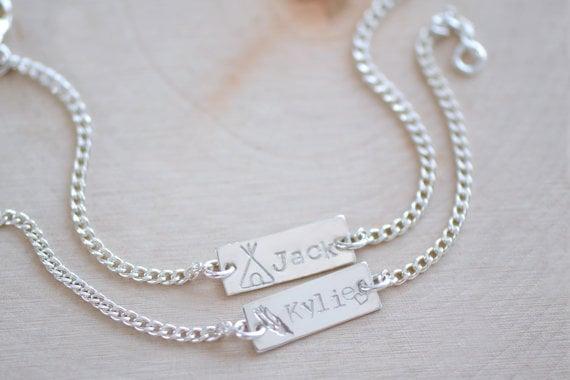Image of Baby Bar Bracelet , Toddler Bracelet , Baby Nameplate Bracelet - Children's Bracelet - Gift