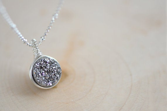 Image of Sparkling Silver Druzy Necklace , Sterling Silver Necklace , Wire Wrapped Druzy Necklace