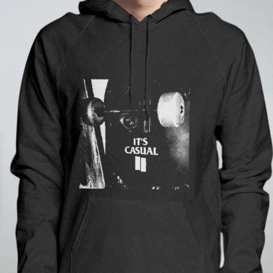Image of men's pull over black hoodie