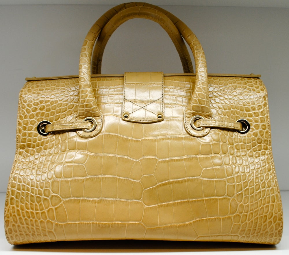 Image of Jimmy Choo Rosalie Croc-Stamped Leather Satchel