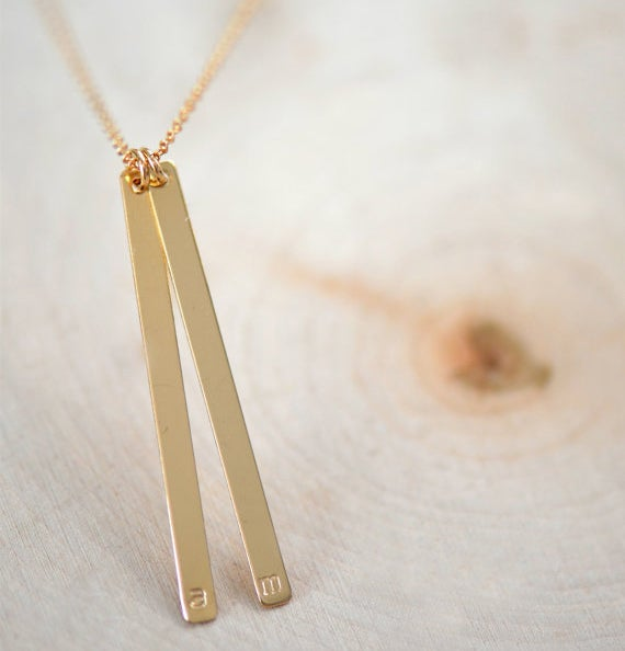 Image of Gold Initial Necklace , Skinny Bar Necklace