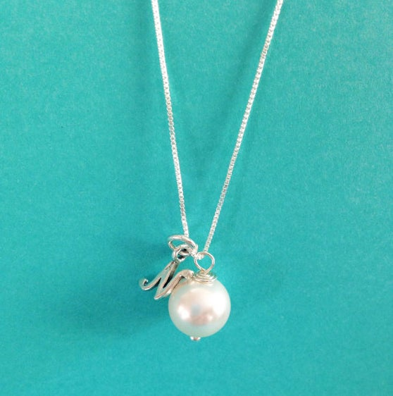 Image of Bridesmaid Necklaces Pearl Initial Personalized Necklace in .925 Sterling Silver