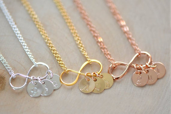 Image of Dainty Personalized Infinity Necklace , Infinity Necklace , Initial Necklace