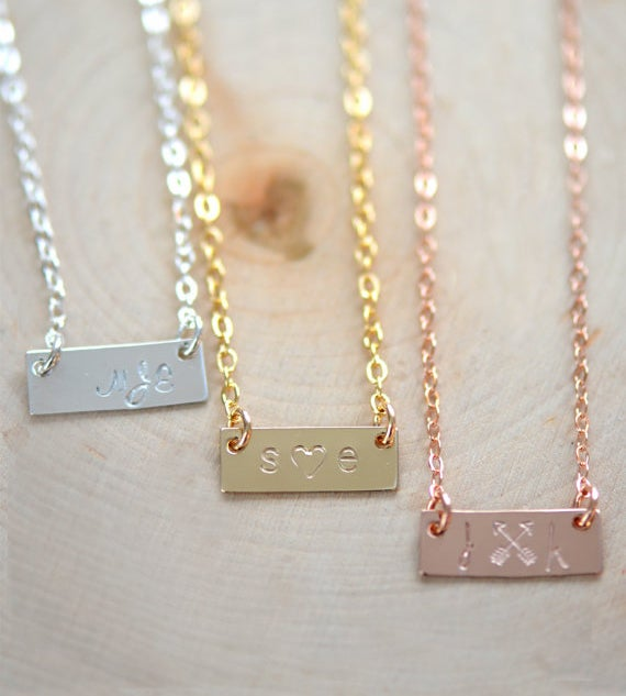 Image of Personalized Small Bar Necklace - Name Plate Necklace