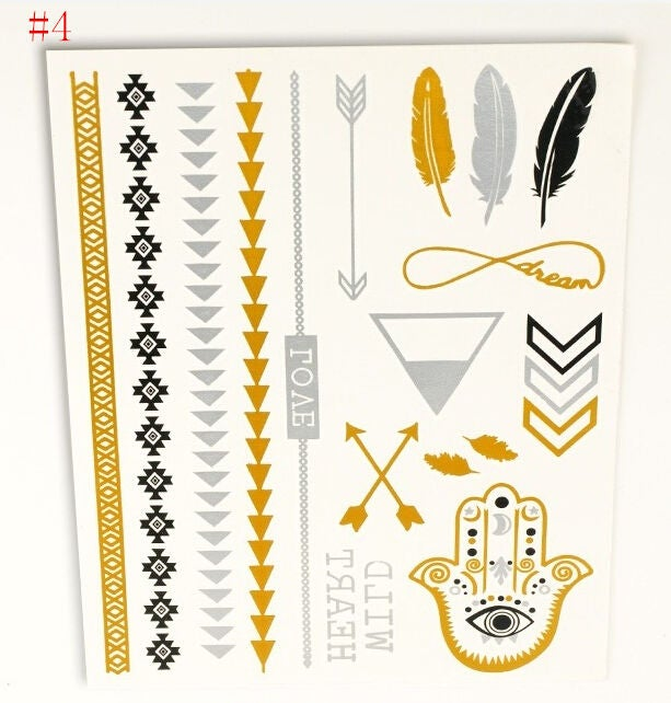 Image of BOHO FLASH Temporary Tattoo Gold Silver Black SET 1