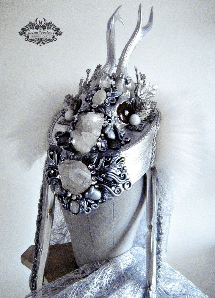 Image of SKADI - Winter Goddess Snow Queen Antler Headdress Woodland Fantasy Crown