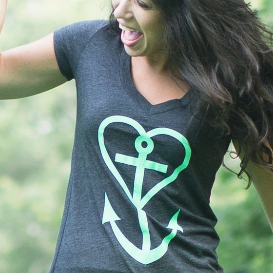 "Image of OAIH Heart+Anchor Womens ""Deep V"" V-Neck Tshirt"