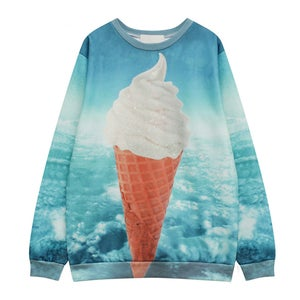 Image of Women Street Style Loose Fleece Long Sleeves With Blue Sky And Ice Cream Printing