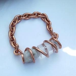 Image of Moonstone/Polished Quartz Point Set Crystal Bracelet