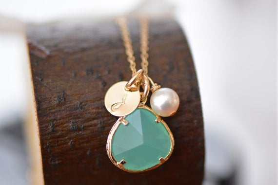 Image of Mint Green Glass Charm, Pearl & Initial Disk Gold Necklace and Earring Set