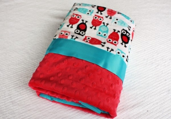 Image of LOVEY/ BABY/ TODDLER BLANKET - WATERMELON NIGHT OWLS WITH WATERMELON MINKY & TURQUOISE SATIN TRIM