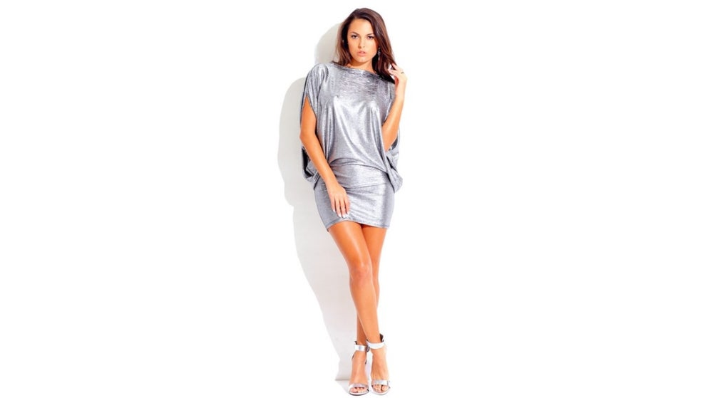 Image of Silver Metallic Chain Cocktail Dress