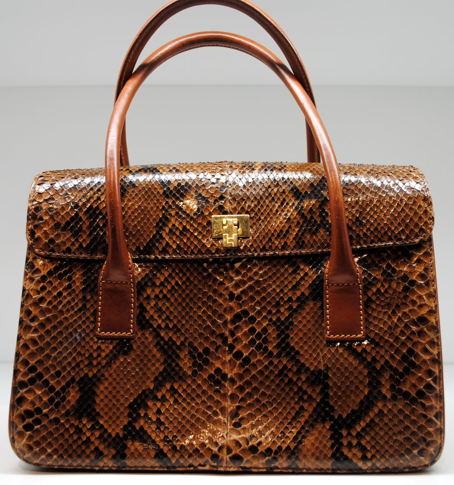 Image of Lambertson Truex Snakeskin Box Car Handbag