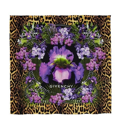 Image of SOLD OUT AUTHENTIC Givenchy Leopard and floral-print silk-twill scarf