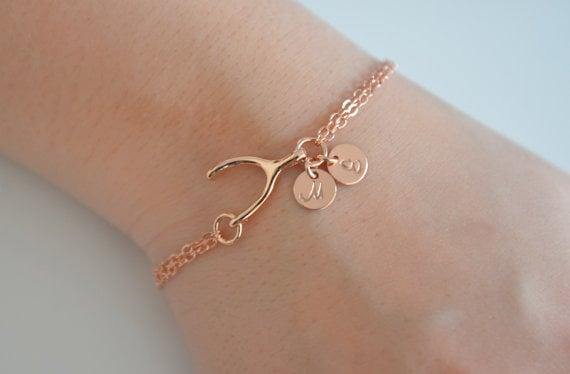 Image of Dainty Rose Gold Personalized Wishbone Bracelet