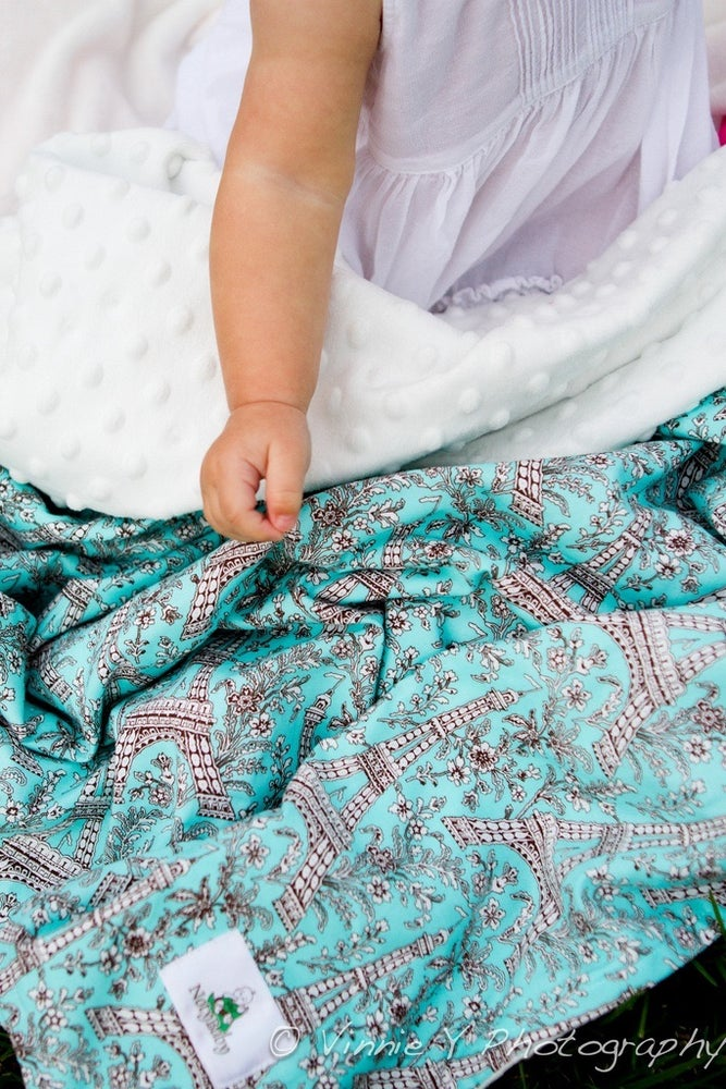 Image of LOVEY/ BABY/ TODDLER/ TEEN BLANKET - AQUA EIFFEL TOWER WITH WHITE MINKY