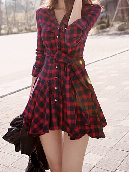 Image of Cute grain v collar long sleeve hot dress
