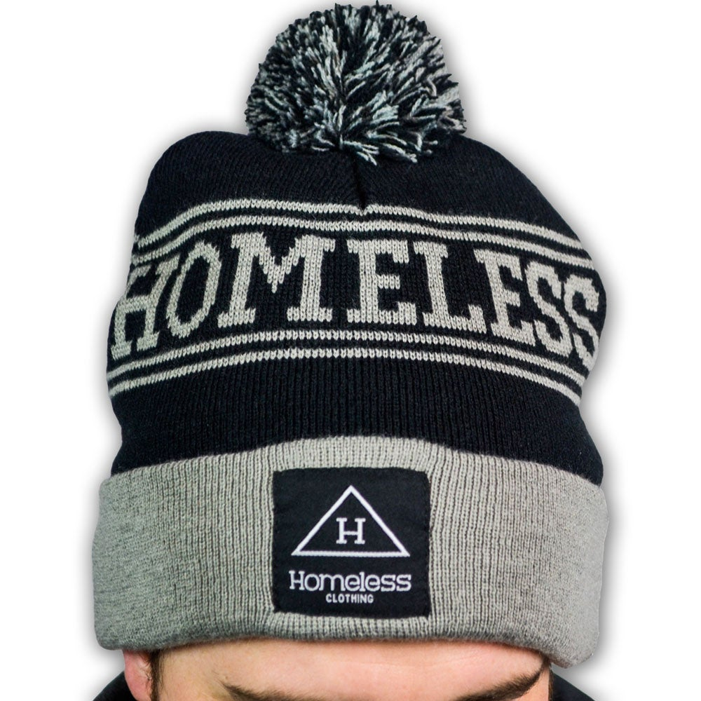 Image of Homeless Knitted Beanie in Grey/Black