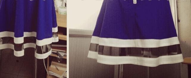 Image of WOMEN'S SHEER V-NECK CONDOLE BELT SPLICING DRESS