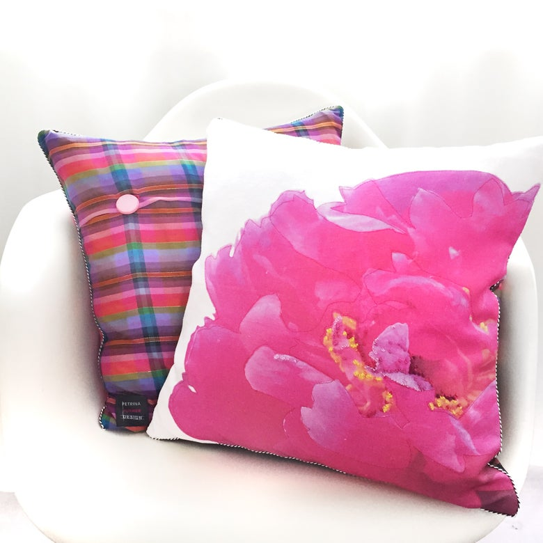 Image of BRIGHT PEONY Limited Edition Bespoke Cushion
