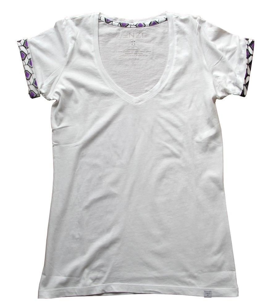 Image of ENZI Women's White Khanga Tee