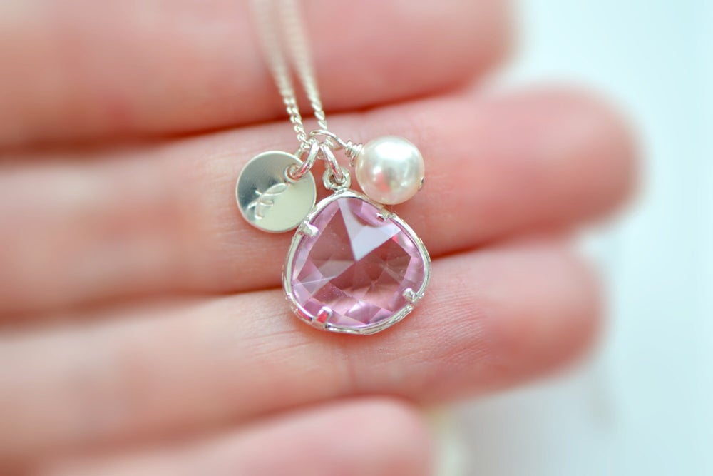 Image of Pink Glass Charm, Pearl & Initial Disk Necklace and Earring Set - Bridesmaid Necklace