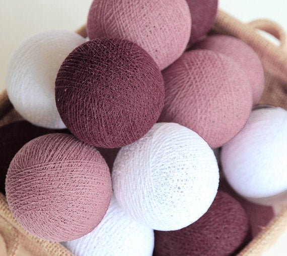 Image of 20  Handmade Cotton Ball Lights DP/B/W