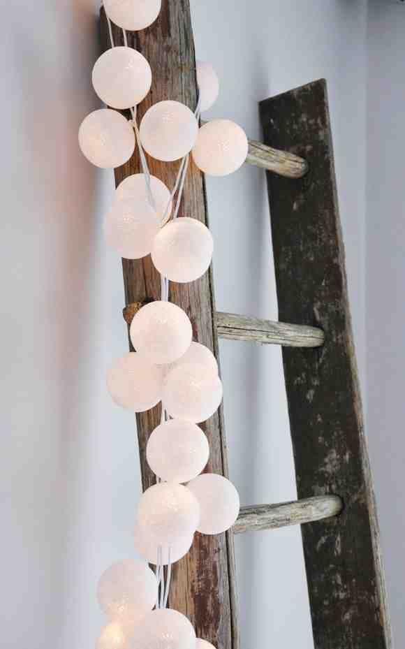 Image of 20 White Handmade Cotton Ball Lights