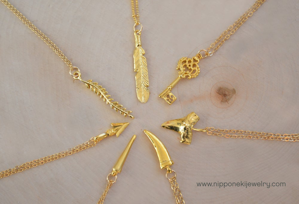 Image of Delicate Minimal Gold Necklace / Choose Your Simple Pendant Necklace / Spike , Horn,