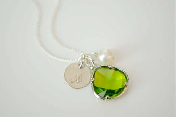 Image of Peridot Green Charm, Pearl & Initial Disk Necklace & Earring Set - Bridesmaid Necklace