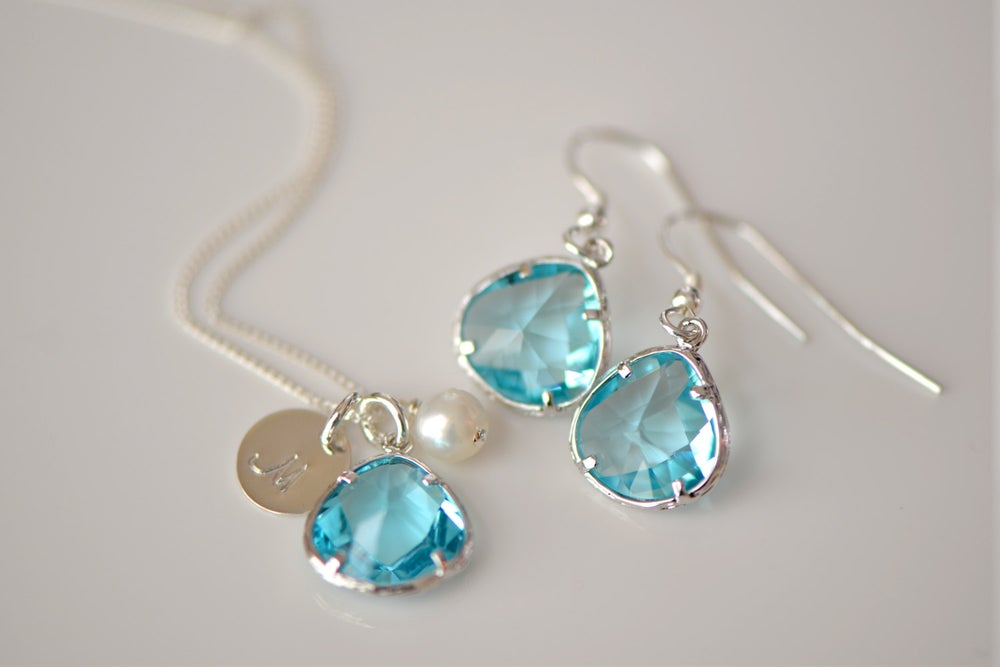 Image of Aquamarine Glass Charm, Pearl & Initial Disk Necklace & Earring Set - Bridesmaid Necklace