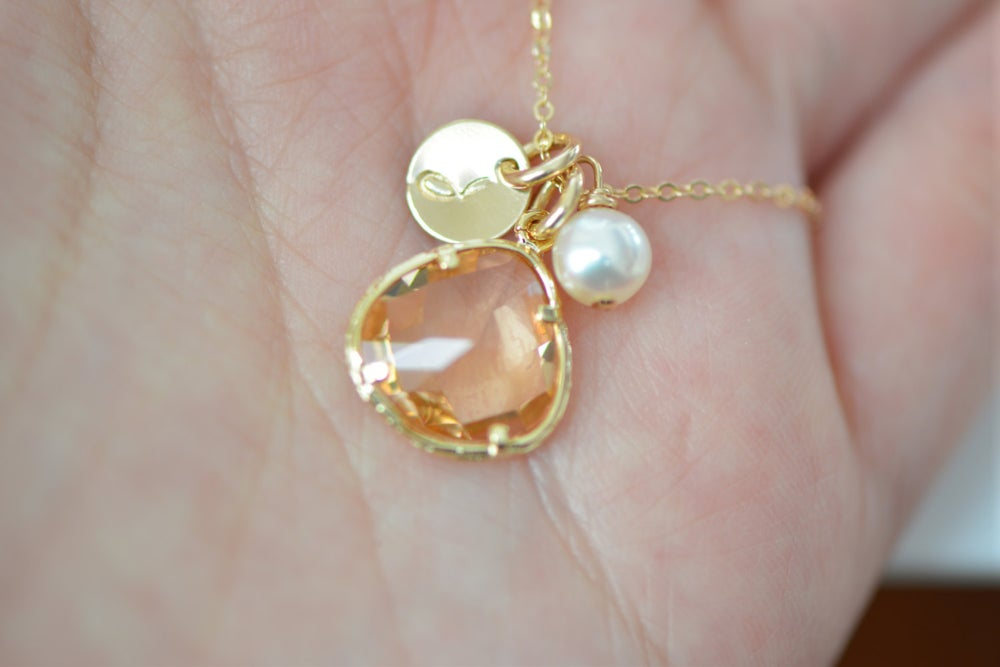 Image of Peach - Champagne Glass Charm, Pearl & Initial Disk Gold Necklace & Earring Set