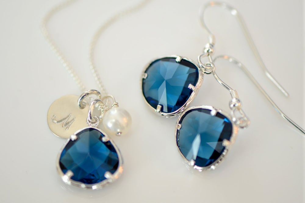 Image of Sapphire Blue Charm, Pearl & Initial Disk Necklace & Earring Set - Bridesmaid Necklace