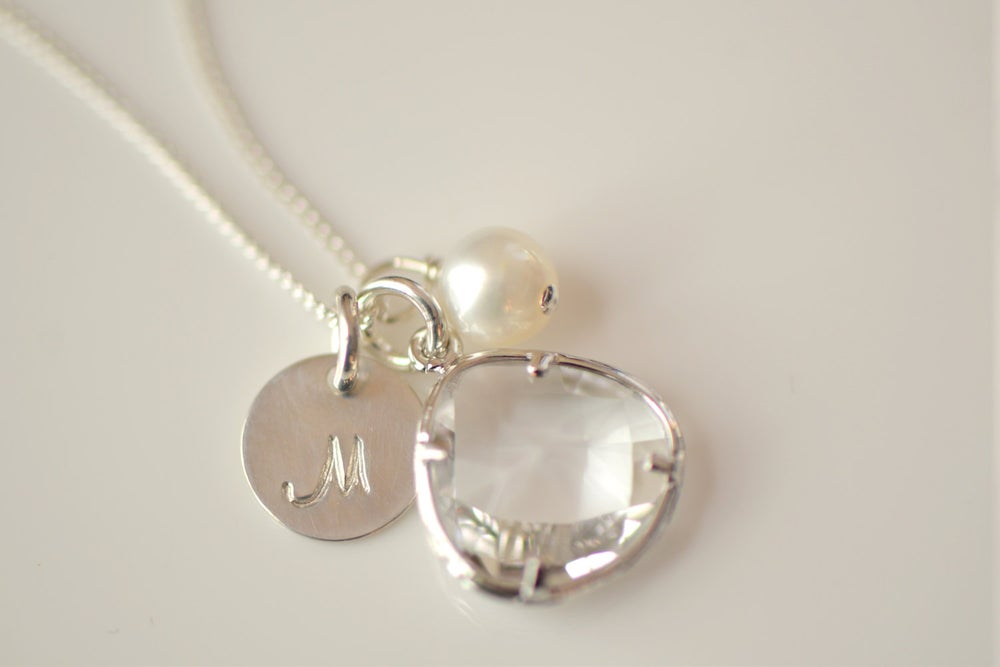 Image of Crystal Charm, Pearl & Initial Disk Sterling Silver Necklace & Earring Set - Bridesmaid Necklace