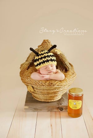"Image of  Newborn Baby ""Honey Comb"" Bee Hive with Removable Top! Another Woodsy Wonders Original!"