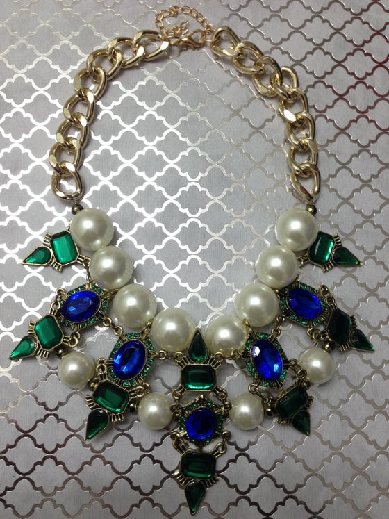 Image of Blue + Green + Pearl Rhinestone Statement Necklace