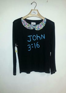 Image of John 3:16 tee with printed peter pan collar