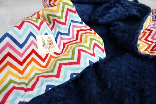 Image of LOVEY/ BABY/ TODDLER/ TEEN BLANKET - BRIGHT CHEVRON WITH NAVY MINKY