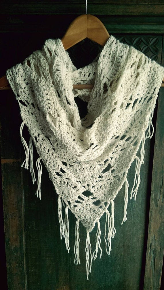 Hand Crocheted Lace Infinity Triangle Scarf Triangle Cowl Lace