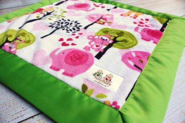 Image of BABY/ TODDLER/ ADULT BLANKET - FOREST FUN WITH PINK MINKY & LIME SATIN TRIM