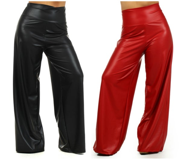 Image of Faux Leather High Waisted Wide Leg Pants