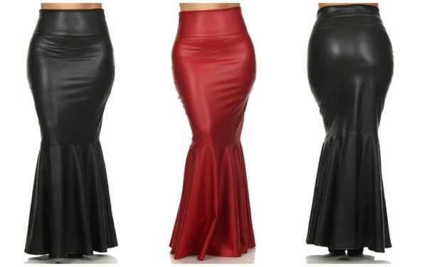 Image of Sexy Long Faux Leather Mermaid Skirt