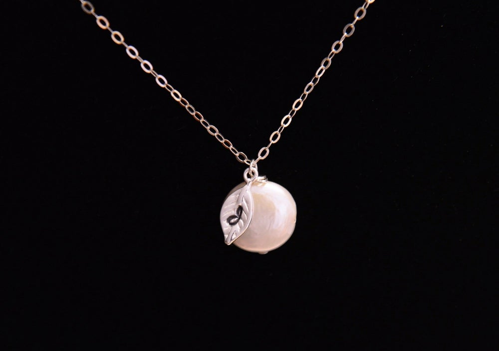 Image of Freshwater Coin Pearl Leaf Initial Personalized Necklace