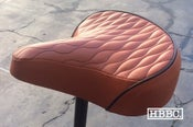 Image of HBBC Quilted Seats in Brown with colored stitching