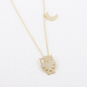 Image of Owl and Moon Necklace Silver