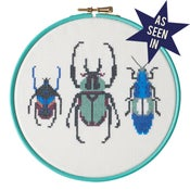 Image of Aqua Beetle Trio cross-stitch PDF pattern