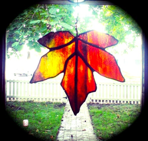 Image of Fall Maple Leaf Set-stained glass