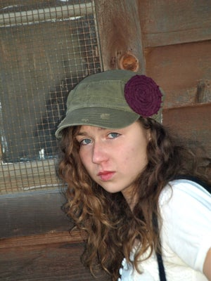 Image of Olive Hat/Purple Flower