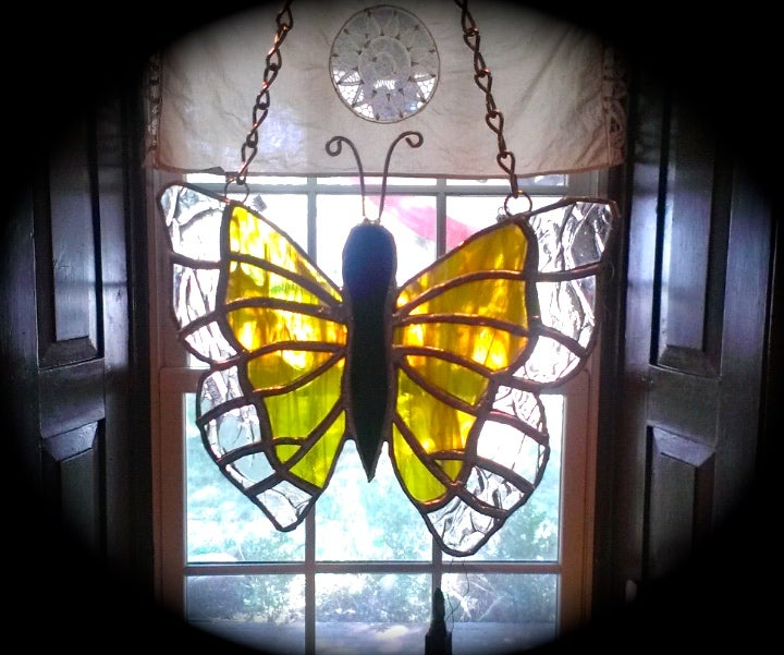 Image of Butterfly sun catcher-stained glass